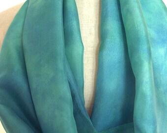 "Hand Dyed Silk Infinity Scarf - 11 x 76"", Seafoam, Aqua, Long Infinity Loop"