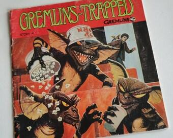 1 Vintage 1984 GREMLINS Kids Books - GREMLINS TRAPPED - Retro 80s Movie, Cartoon, Mogwai, Gizmo, Stripe, Warner Brothers