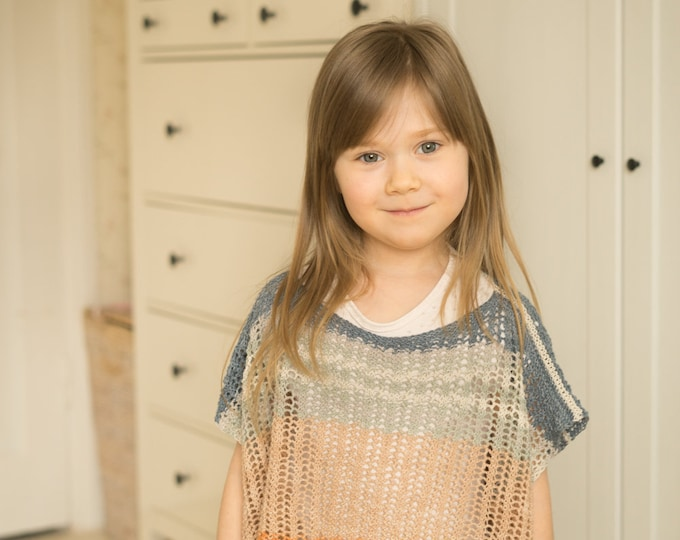 KNITTING PATTERN summer mesh poncho Freya (toddler, child sizes)