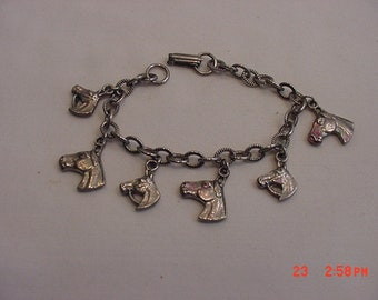 Vintage 6 Horse Heads Charm Bracelet  18 - 775