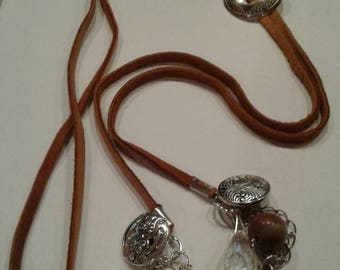 Tan leather lariat necklace, concho lariat necklace, leather lariat