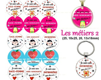 60 digital images for cabochons 2 - nurse - midwife - caregiver crafts. 30, 25, 18 x 25, 20,
