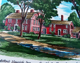 "Vintage Screencraft Tile with ""Longfellow's Wayside Inn"" in Sudbury, Massachusetts"