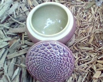 Lidded Jewelry Box Hand carved Diamond Design  Purple