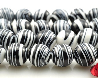 48 pcs of Zebra Stone smooth round beads in 8mm