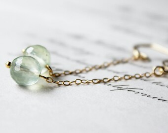 daisy buchanan. dangle earrings. (prehnite. micro-faceted rounds. 14k gold filled. jewelry. made to order)