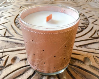 Scented candle in leather