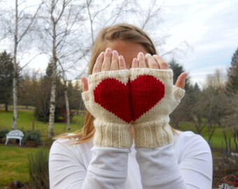 Heart in Hands Fingerless Gloves, Heart Gloves, Gifts for Lovers, Winter White Gloves, Love You Gloves, Valentines Gifts for Women
