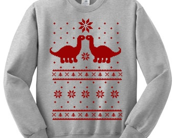Dinosaur Ugly Christmas Sweater Holiday Sweatshirt - Unisex Sizes S, M, L, XL