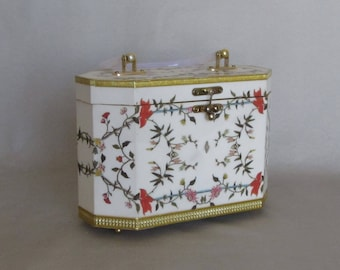 Vintage White and Floral Decoupage Purse with White Lucite Handle, 4 Gold Tone Feet and Trim
