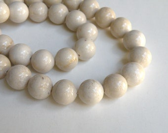 Natural Riverstone in natural ivory almond round gemstone 12mm full strand 4308GS