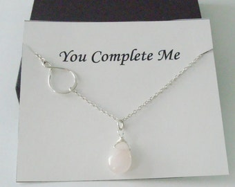 Eternity Infinity Charm with Rose Quartz Silver Necklace ~~Personalized Jewelry Card for Mom, Best Friend, Sister, Bridal Party, Wife