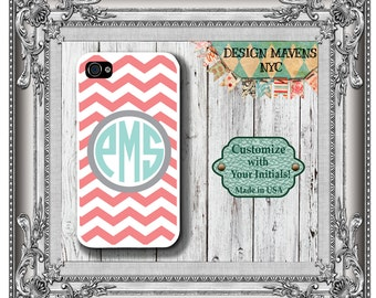 Preppy Coral iPhone Case,  Monogram iPhone Case, Personalized iPhone Case, iPhonee SE, iPhone 4, 4s, iPhone 5, 5s, 5c, iPhone 6, 6s, 6 Plus
