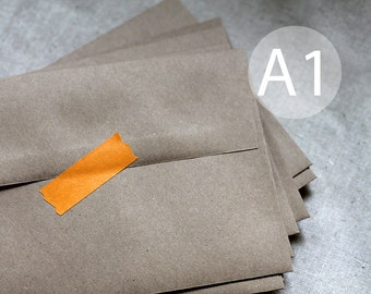 "25 3x5 Kraft Brown Envelopes - A1 / 4-Bar Kraft Envelopes - 3.5x5 inches (true size 3 5/8"" x 5 1/8"")"