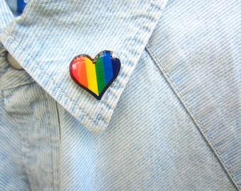 Gay Pride Lapel Pin, Gay Pride Accessories, Rainbow Heart Pin, Rainbow Pride, LGBT Pin, LGBT Flag, LGBT Gift, Rainbow Brooch