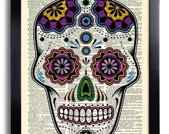 Day of the Dead Art Mexican Skull Art Print Candy Skull Poster Art Anatomy Wall Decor Day of the Dead Wall DecalTattoo Art Decor 130 & Day of the Dead Art Print Sugar Skull Art Mexican Skull