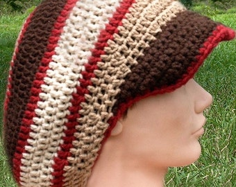 Trio of Browns and Maroon Accents Crochet Tam with Brim