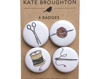 craft pinback button badges (set of four) knitting / sewing / stitching pins - needle and thread - gift