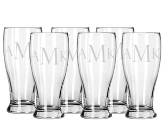 Set of 6 Etched Beer Glasses