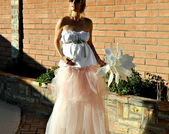 Maternity Wedding Dress Tulle-Maternity Wedding Dress-Maternity Wedding Gown-Jolie Maxi Tissue Linen Layered Tulle Pregnant Bride Chic