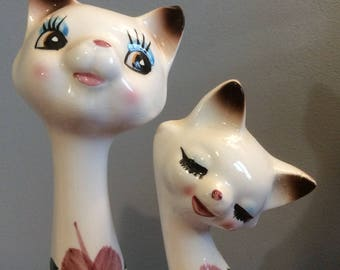 Vintage Ceramic Siamese Cats, Pair of Flower design Ceramic Cats, Retro Stylized Set of Two Siamese Cats, Siamese Cat Statues