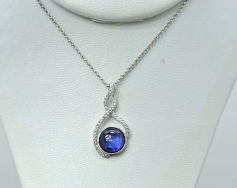 Tanzanite Cabochon With White Sapphire Accents Necklace .925 Sterling Silver