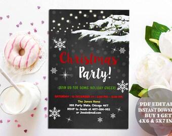 Rustic Christmas Invitation, Christmas invitation Chalkboard Christmas party invitations Christmas ornaments, editable pdf invitation