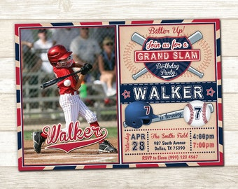 Baseball Photo Party Invitation - Baseball Birthday Invite - Vintage Baseball Invitation - Baseball Party Invite - Boys Birthday Invite