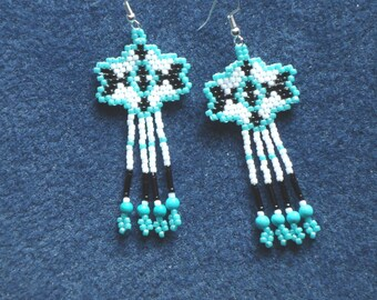 Beaded earrings, Tribal beaded jewelry, beaded earrings, fringe earrings, turquoise, gemstone,  Native American inspired, southwestern, boho