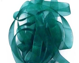 Green very dark 6 mm wide organza Ribbon Spool 32 meters