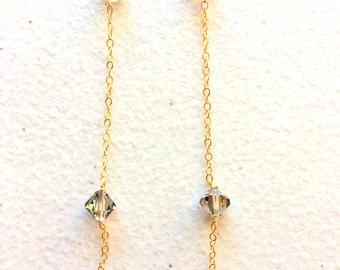 "2 7/8""long drop Swarovski crystal earrings   ,14ct gold filled chains and clasp,WEDDING"