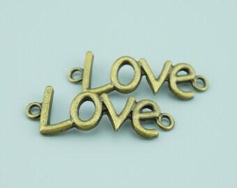 30pcs 16x40mm Antique Bronze Love Charm Pendants,Love Connectors,Letter Charms Pendants Connectors Z6701A
