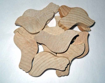 Twelve Wood Doves, 1 3/4 inch (4.4 cm) Unfinished Wooden Birds