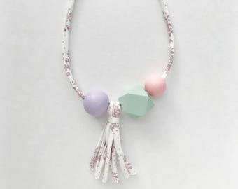 THE ADALINE Cloud Tassel modern girls necklace, kids necklace, petite handpainted wooden bead necklace on fabric string