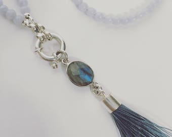 Blue Lace Agate and Labradorite Necklace