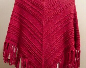 Red Tweed Fringed Wool Poncho