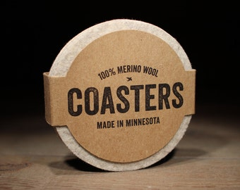 Coffee Coasters - 5mm Thick German-milled Felt - Rich, Lightfast Colors - Natural and Renewable -  Arctic Grey