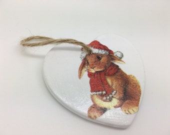 Rabbit Ornament, Christmas Rabbit Decoration, Christmas Tree Decoration , Christmas Gift for Teacher , Christmas Gift for Her