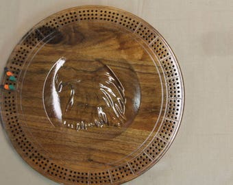 3D Eagle Cribbage Board Made of Black Walnut