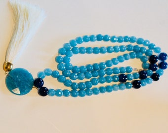 Blue agate stones Nacklace handmade Italy
