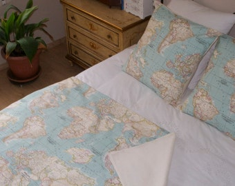 Items similar to world map bedding set of 3 world map blanket world map bedding map set of 3 1 blanket and 2 cushions sofa gumiabroncs Images