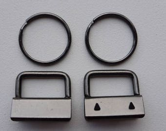 """Gun Metal Black Key Fobs 26mm / 1"""" wide x 50"""