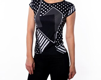 Black And White Polka Dots Geometric Print Slim Fit Tee