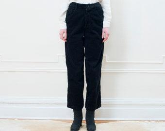vintage black corduroy pants small medium | cotton cord black high waist pants | wide wale corduroy high waisted pants | 80s | 1980s