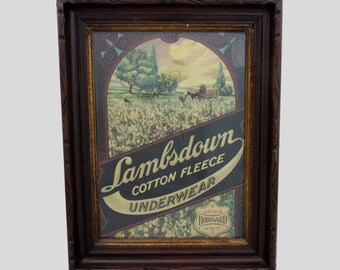 Framed Advertising for Lambsdown Underwear   - 17x13 - 1940s