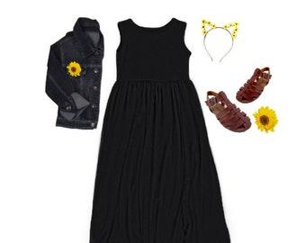 Girls Sleeveless Black Maxi Dress, Girls Black Long Dress, Girls Black Dress -Sizes 3/4, 4/5, 6/6X, 7/8, 10/12, 14 Ready to Ship