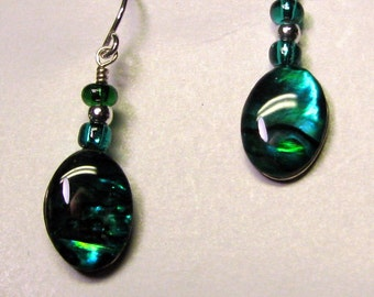 Green paua shell earrings with sterling silver