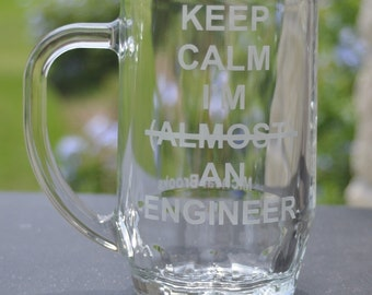 Keep Calm Im Almost An  Beer Mug etched by JackGlass on Etsy
