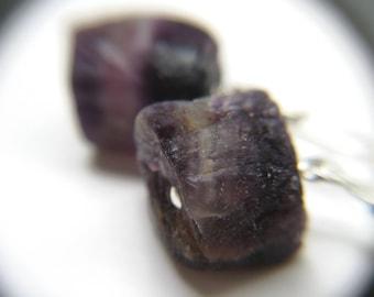 Rainbow Fluorite Stone Jewelry . Rough Gemstone Earrings . Purple Fluorite Earrings . Raw Stone Earrings - Chakra Collection