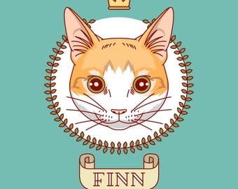 Custom cat portrait. Custom pet portrait. Personalized pet. Cats portraits. Cat memorial. Cat painting. Cat art. Cat lover gift.